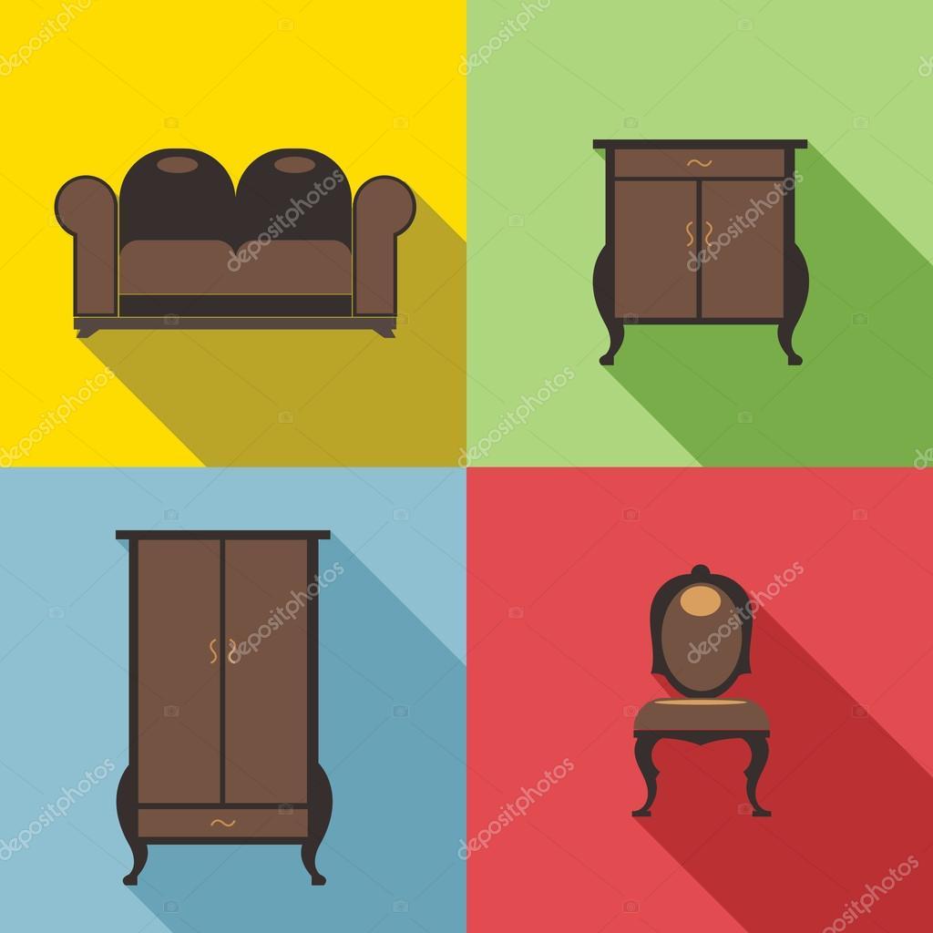 Conjunto De Muebles En Los Contornos Imagen Digital Vectorial  # Muebles Digitales