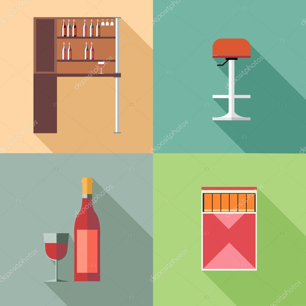 Muebles Con Botellas De Vino Y Una Silla En Los Contornos Imagen  # Muebles Digitales