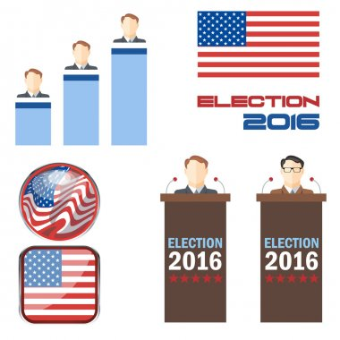 Digital vector election 2016 icon set