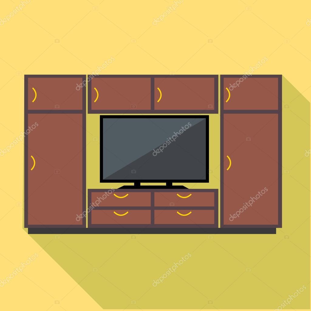 Conjunto De Muebles Y Tv Gabinete Vector Digital Marr N Vector  # Muebles Digitales
