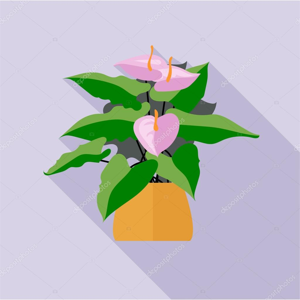 Digital vector green decorative orchid flower