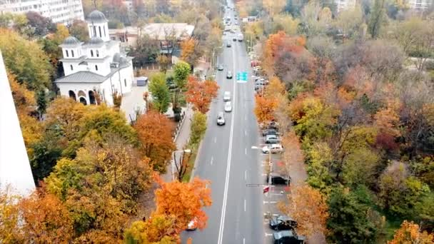The Titan park with multiple multicolored trees, road with moving cars. Residential buildings and a church near the park. View from the drone, Bucharest, Romania
