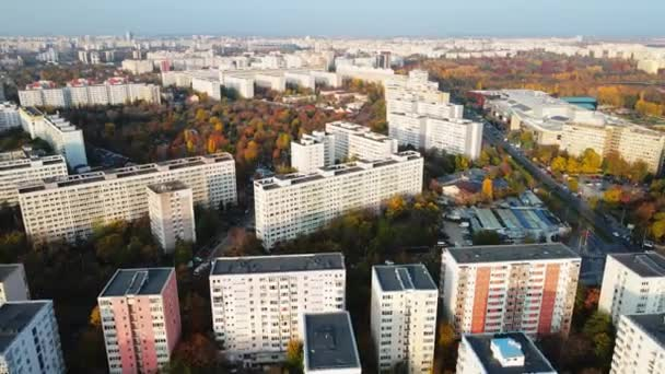BUCHAREST, ROMANIA - OCTOBER 18, 2020: Residential district with high buildings, roads and shopping mall near the Titan park. View from the drone, panorama view