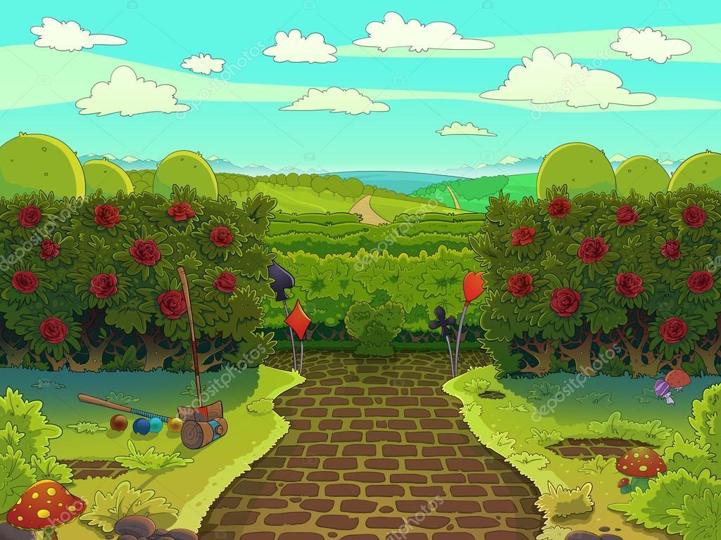 Jard n verde con rosas rojas cancha de croquet foto de for Jardin verde