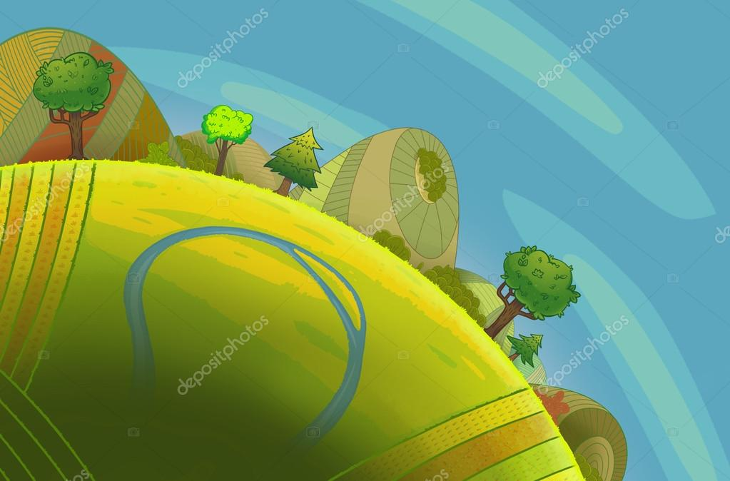 Round green hills with trees