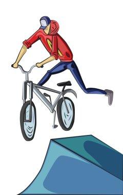 Teenager doing bike tricks on ramps