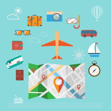 Colorful summer holiday travel planning icon set.