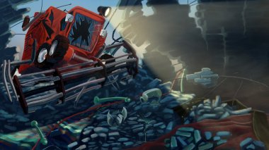 Combine Harvester broke a wall