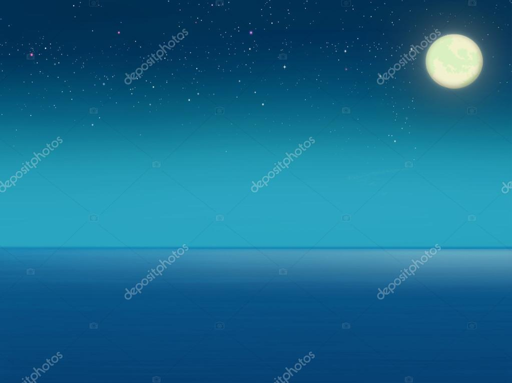 Sea at night with full moon.