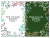 Gyógynövények bannerek kézzel rajzolt vintage vázlat vektoros illusztráció