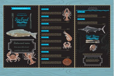 Sea food menu template watercolor hand drawn illustration