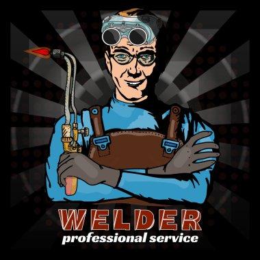 Professional welder pop art style vector illustration