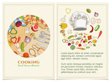 Cooking cookbook template hand drawn elements