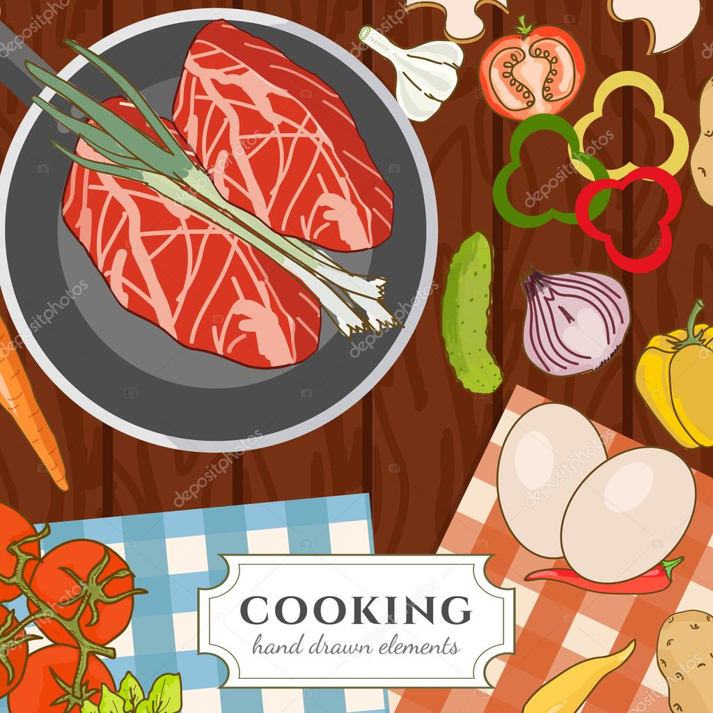 Cooking cookbook kitchen table cooking recipes fresh meat