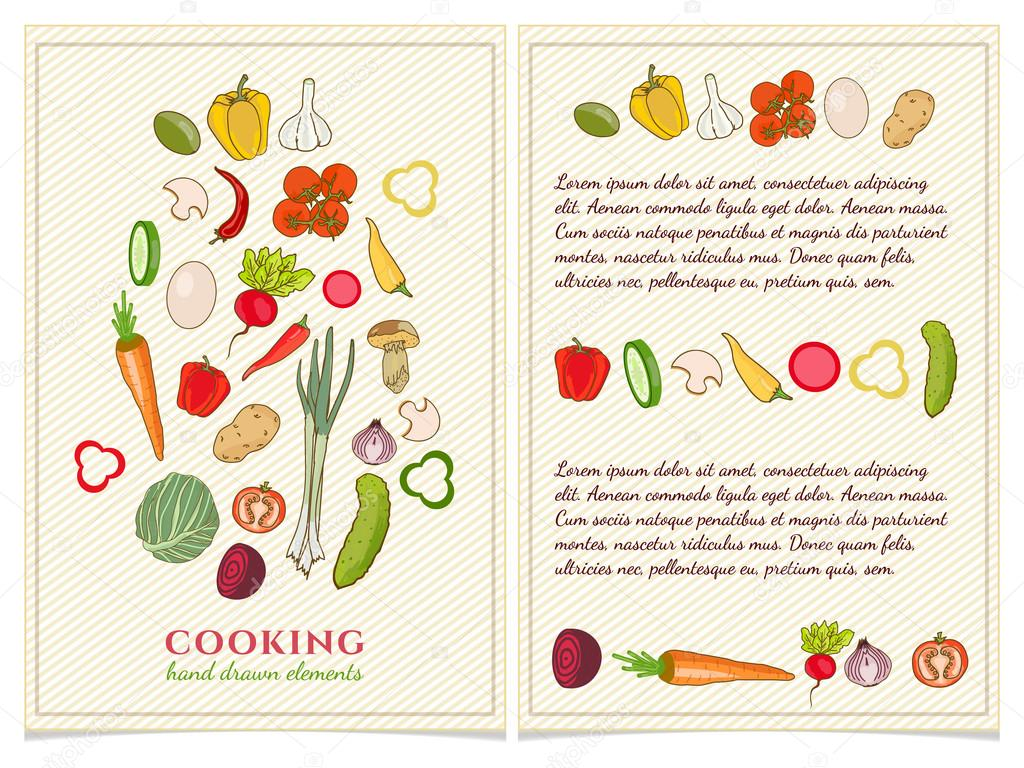 Cookbook Template Hand Drawn Elements Vector U2014 Stock Vector #107790962