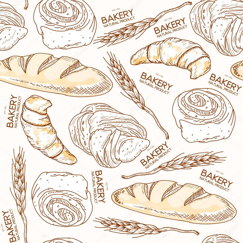 Bollos y pan fresco de panadería de patrones sin fisuras — Vector de ...