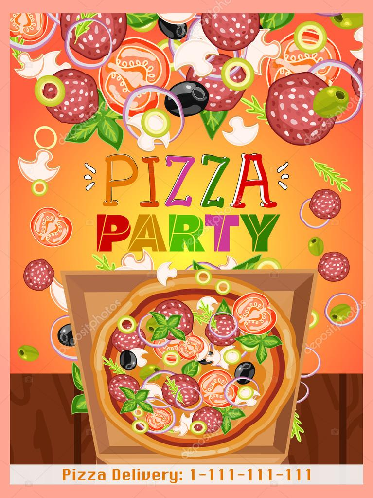 pizza party template fresh ingredients for pizza stock vector 107793422