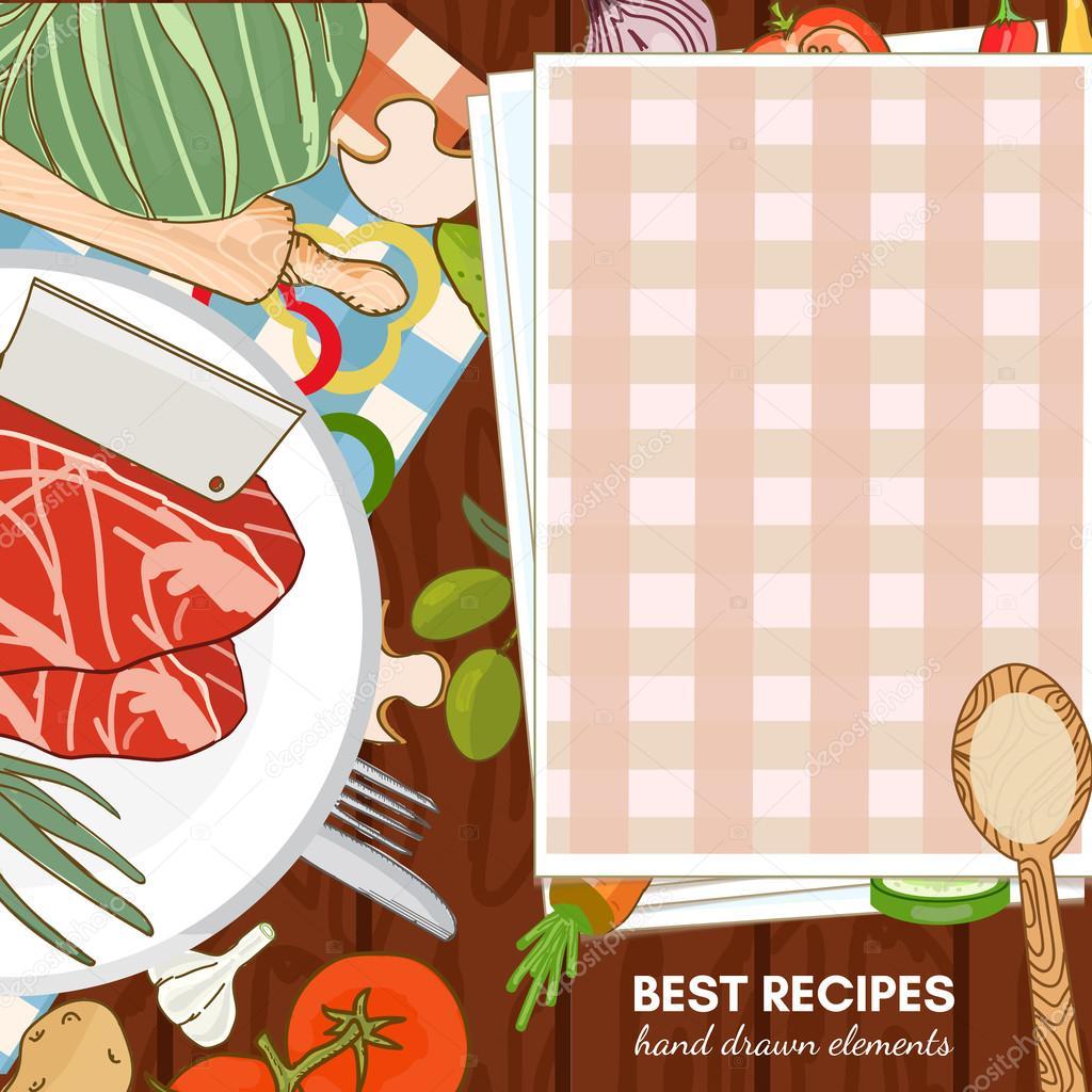 Cookbook cooking recipes vector illustration \u2014 Stock Vector