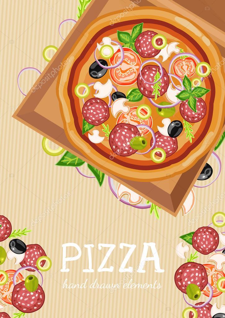 Ingredientes frescos de pizza party para plantilla de pizza — Vector ...