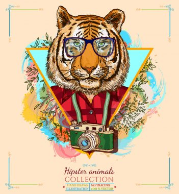Portrait of fashion tiger, hipster animals