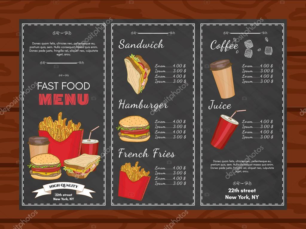 Vector de comida rápida plantilla restaurante menú — Archivo ...
