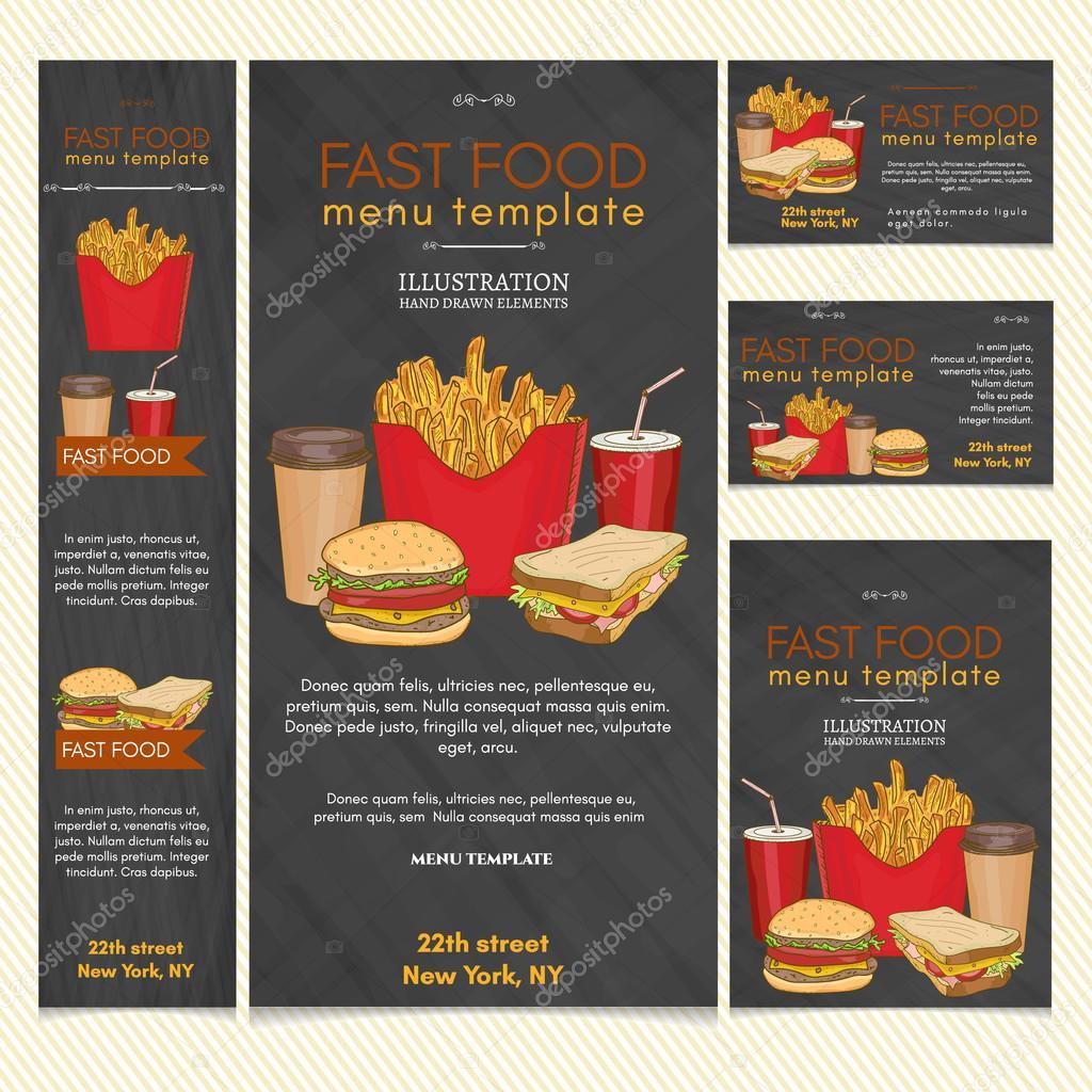 Ilustración de vector de comida rápida restaurante menú plantilla ...