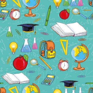 Education seamless pattern back to school open book