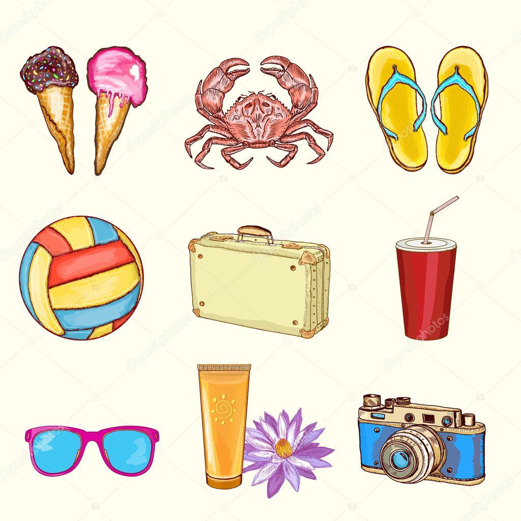 praia de verão definir objetos de férias de verão vetor de stock
