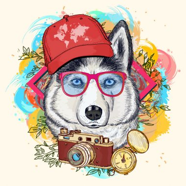 Husky hipster art print hand drawn