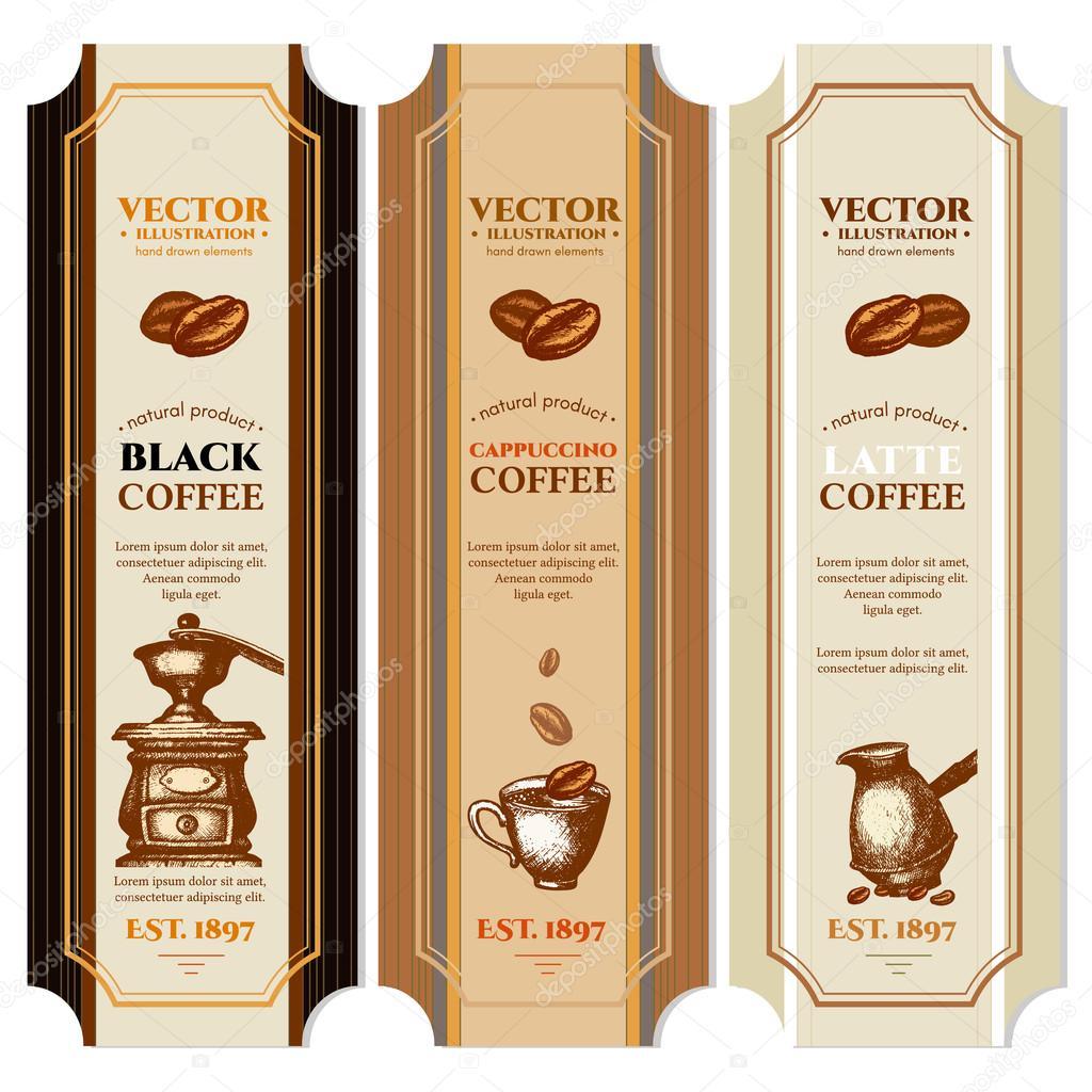 Vector vintage retro plantillas de diseño etiqueta café — Vector de ...