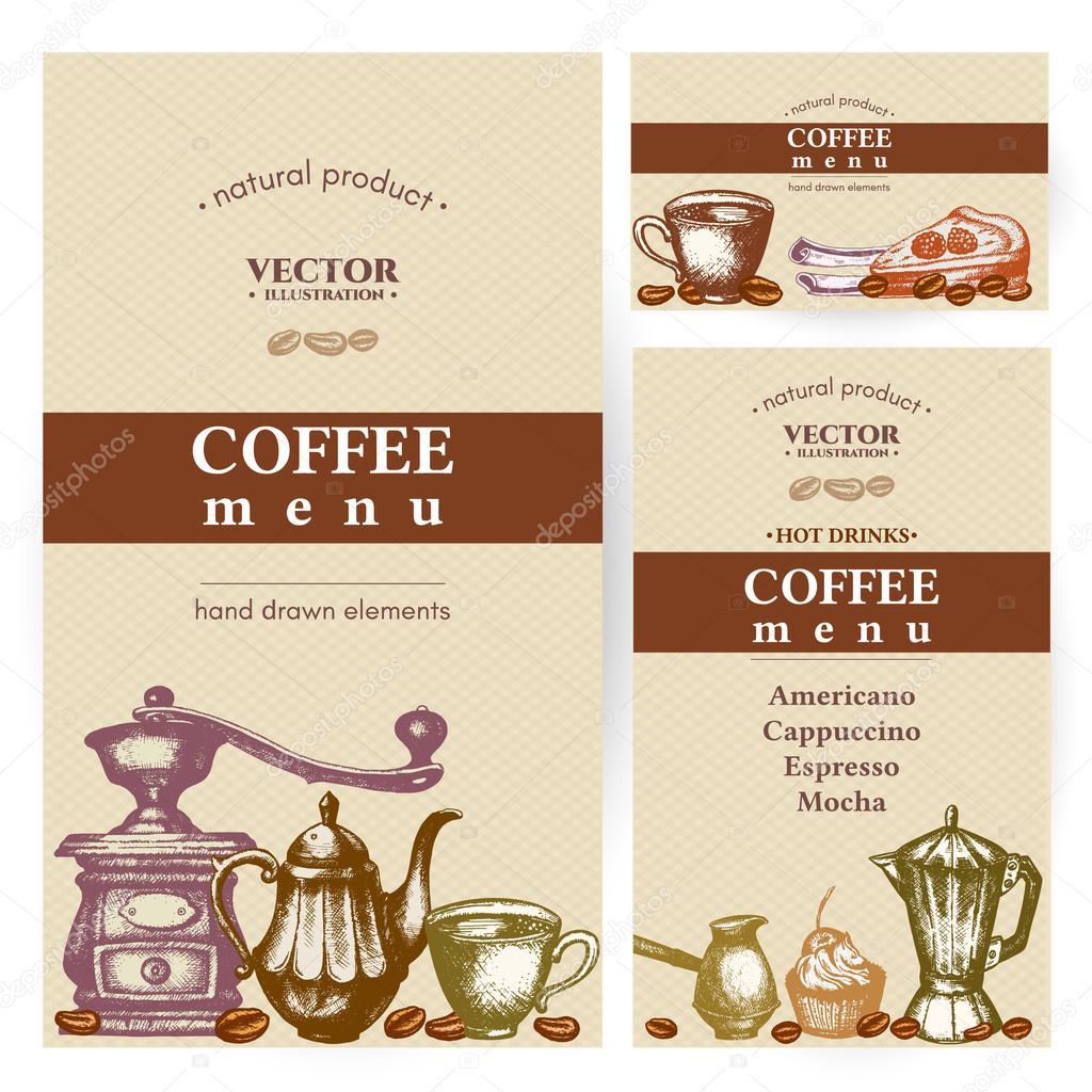 Kaffee-Menü Vintage Vorlage Vektor — Stockvektor © intueri #120059048