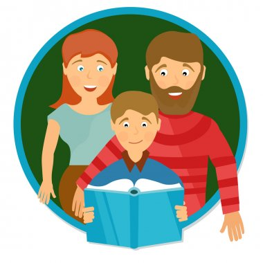 Happy family portrait. Schoolboy reading  book. Education concep