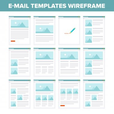 Vector collection of flat e-mail templates wireframe.