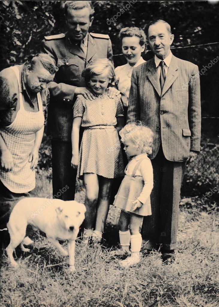 Retro Photo Shows Family And Dog Outside Black White Vintage