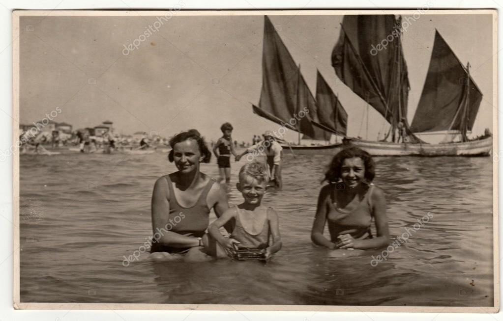 Vintage Photo Shows Family Mother With Son And Daughter Have A