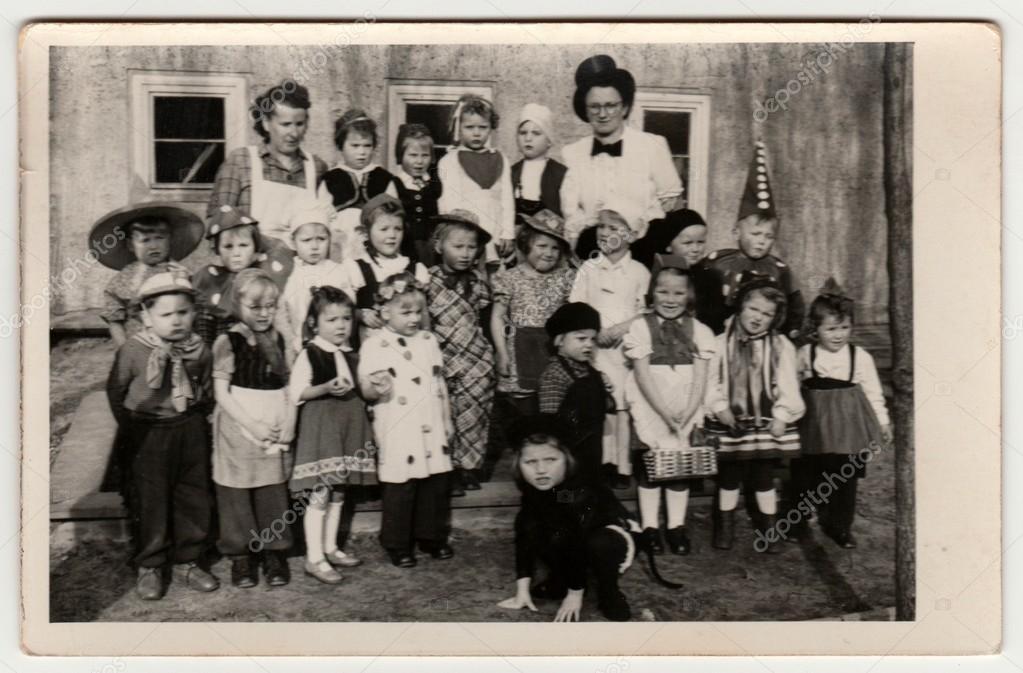 Vintage Photo Shows Childrenpupils Wear Funny Costumes Children