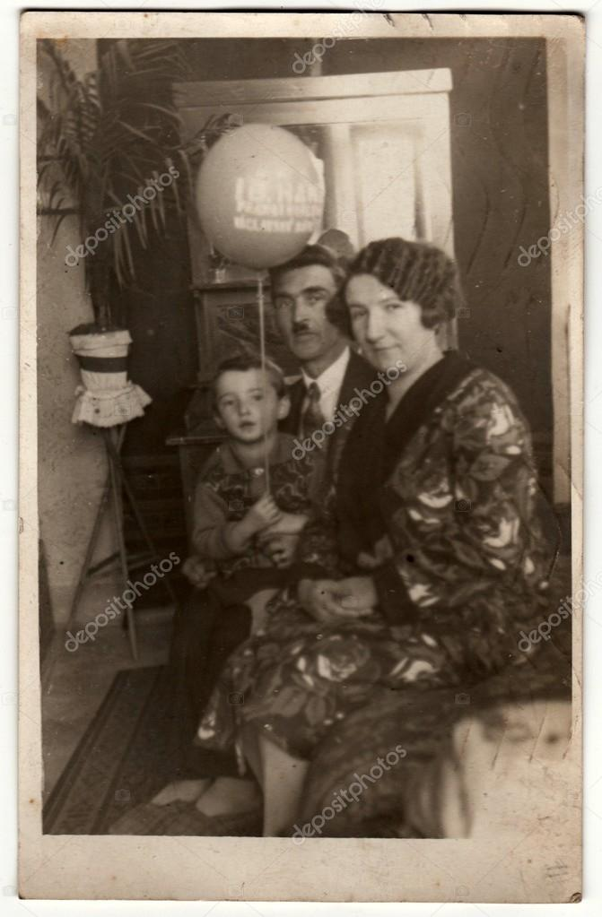 Vintage Photo Shows Family In The Living Room Boy Holds Air Ball