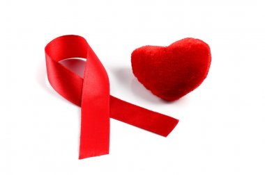 Aids ribbon and heart