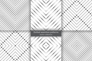 Set of dotted seamless patterns. Abstract lace background. Modern small dotted texture with regularly repeating geometrical shapes, small dots, dotted rhombus, diamond, zigzags. stock vector