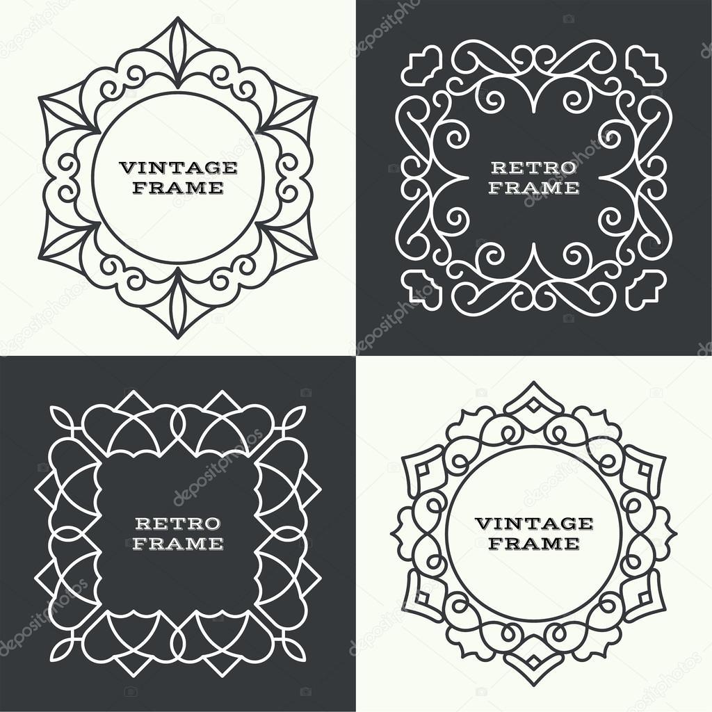 Conjunto de Marcos vintage de línea monograma — Vector de stock ...