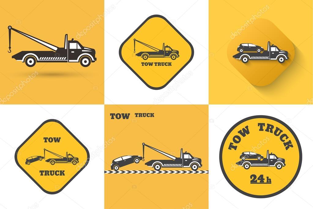 Set Of Tow Truck Icon Stock Vector Baretsky 105026714