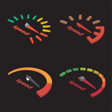 Set of four isometric speedometer scale