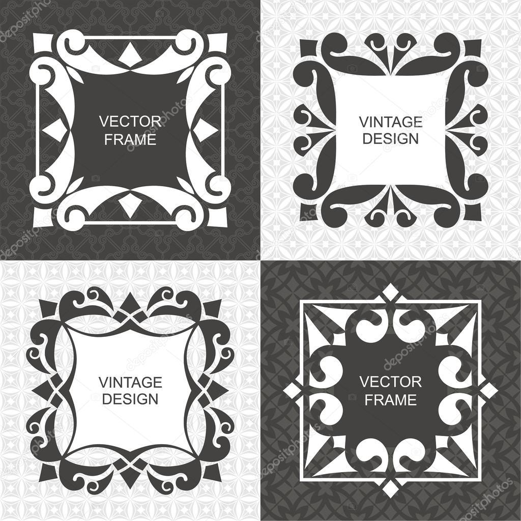 Set of monogram vintage frames vetor de stock baretsky 98062842 set of monogram vintage frames greeting cards wedding invitations retro style vector logo template labels and badges vetor por baretsky stopboris Choice Image