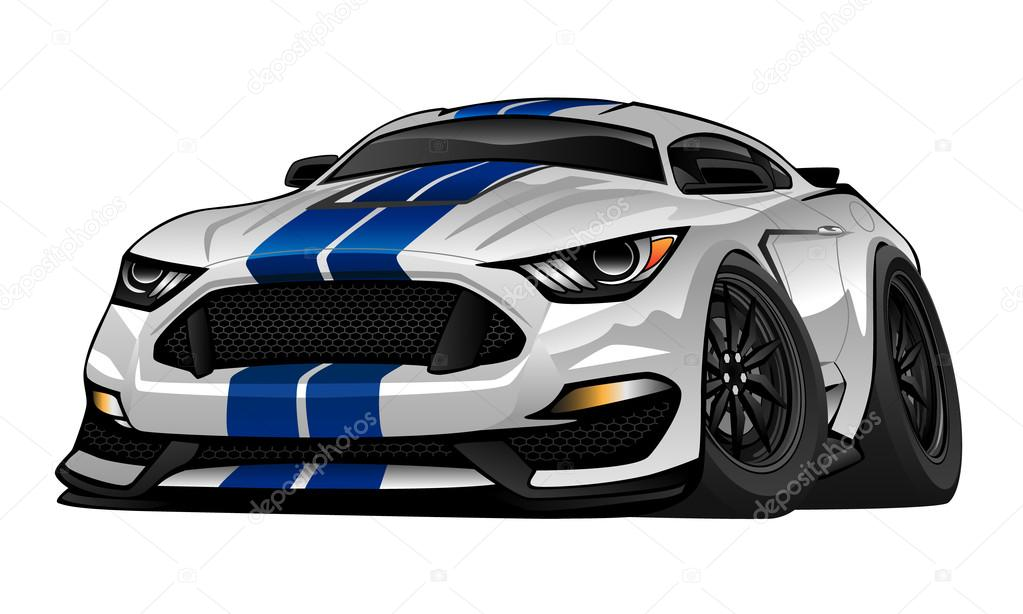 Modern American Muscle Car Cartoon Illustration
