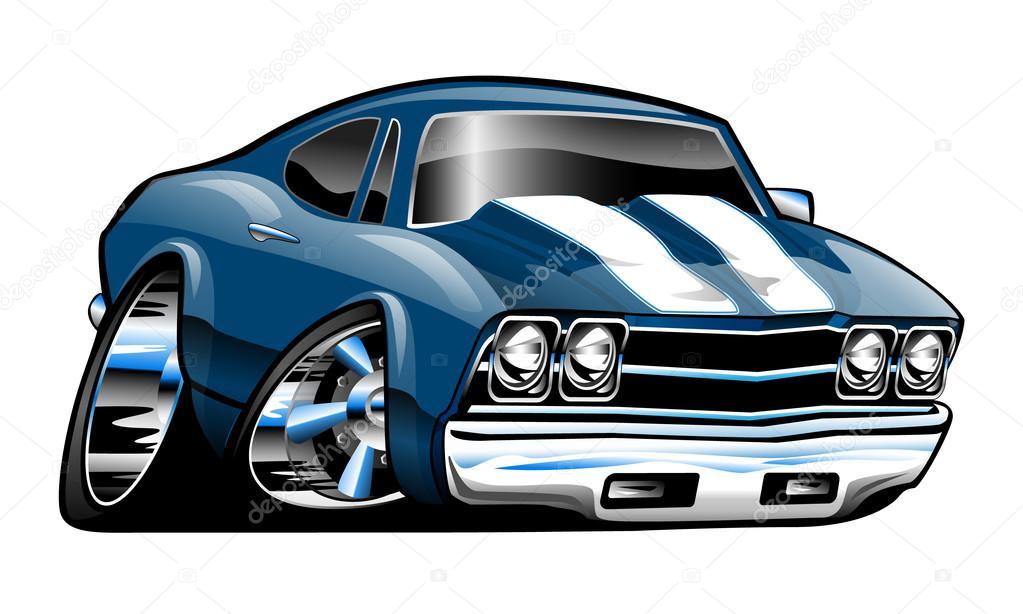 Classic American Muscle Car Cartoon Illustration Stock Vector