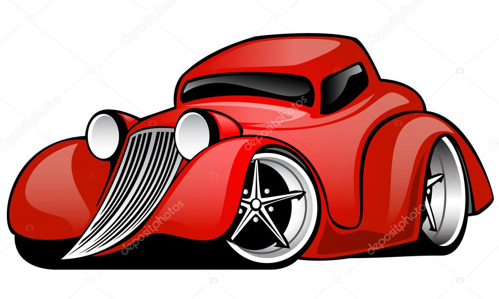 Red Hot Rod Custom Coupe Illustration