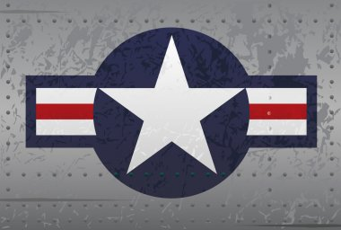 US Military Aircraft Star Logo Insignia Distressed Illustration