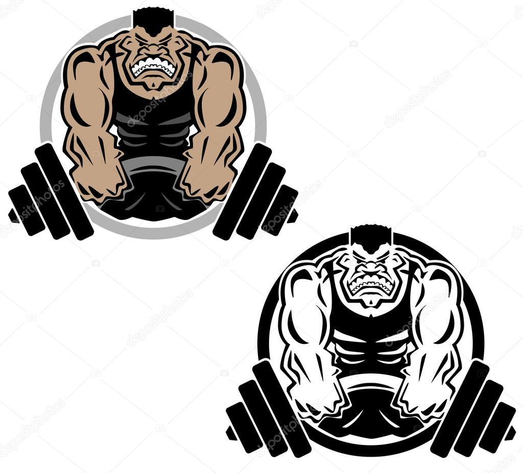 Halterophilie Muscle Fitness Gym Logo Illustration Image