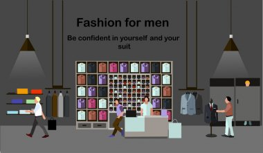 Men fashion concept. People shopping in a mall. Clothes shop Interior. Colorful vector illustration. Banner