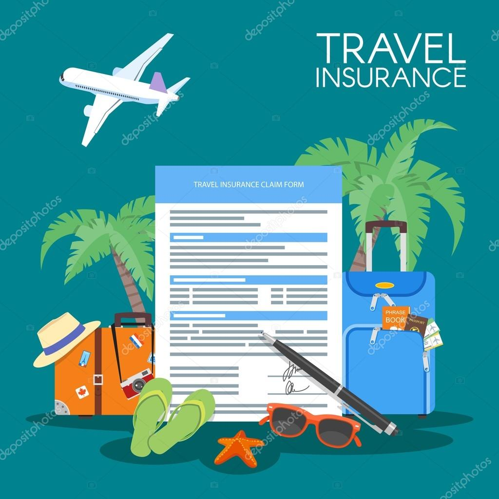 Travel insurance form concept vector illustration vacation travel insurance form concept vector illustration vacation background luggage plane palms vector by skypistudio thecheapjerseys Choice Image